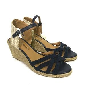 Lucky Brand Kalley Navy and Tan Wedge Espadrille Sandal 7.5 NEW